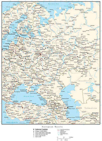 European Russia Map with Country Boundaries, Capitals, Cities, Roads and Water Features