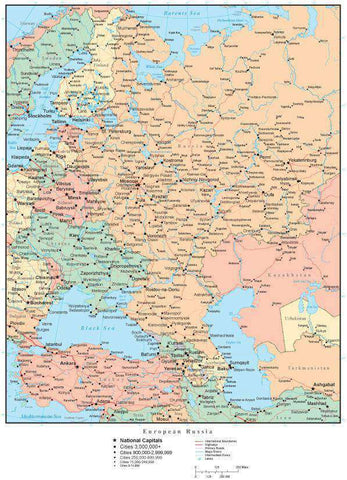 European Russia Map with Countries, Capitals, Cities, Roads and Water Features