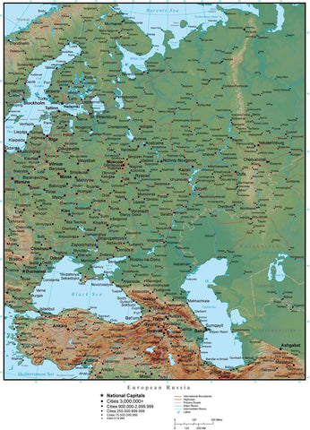European Russia Terrain map in Adobe Illustrator vector format with Photoshop terrain image RUSEUR-952974