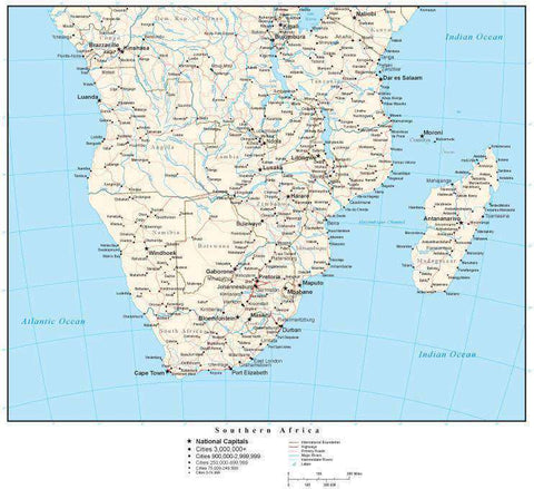 Southern Africa Map with Country Boundaries, Capitals, Cities, Roads and Water Features