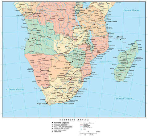 Southern Africa Map with Countries, Capitals, Cities, Roads and Water Features