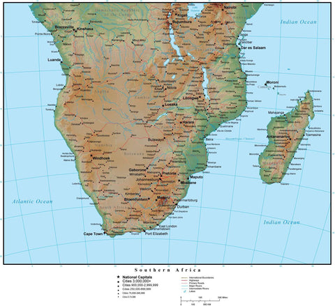 Southern Africa Terrain map in Adobe Illustrator vector format with Photoshop terrain image S-AFRI-952856
