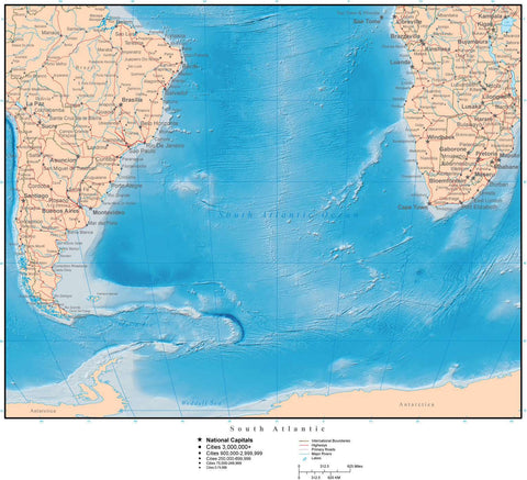South Atlantic Ocean Terrain map in Adobe Illustrator vector format with Photoshop terrain image S-ATLN-952888