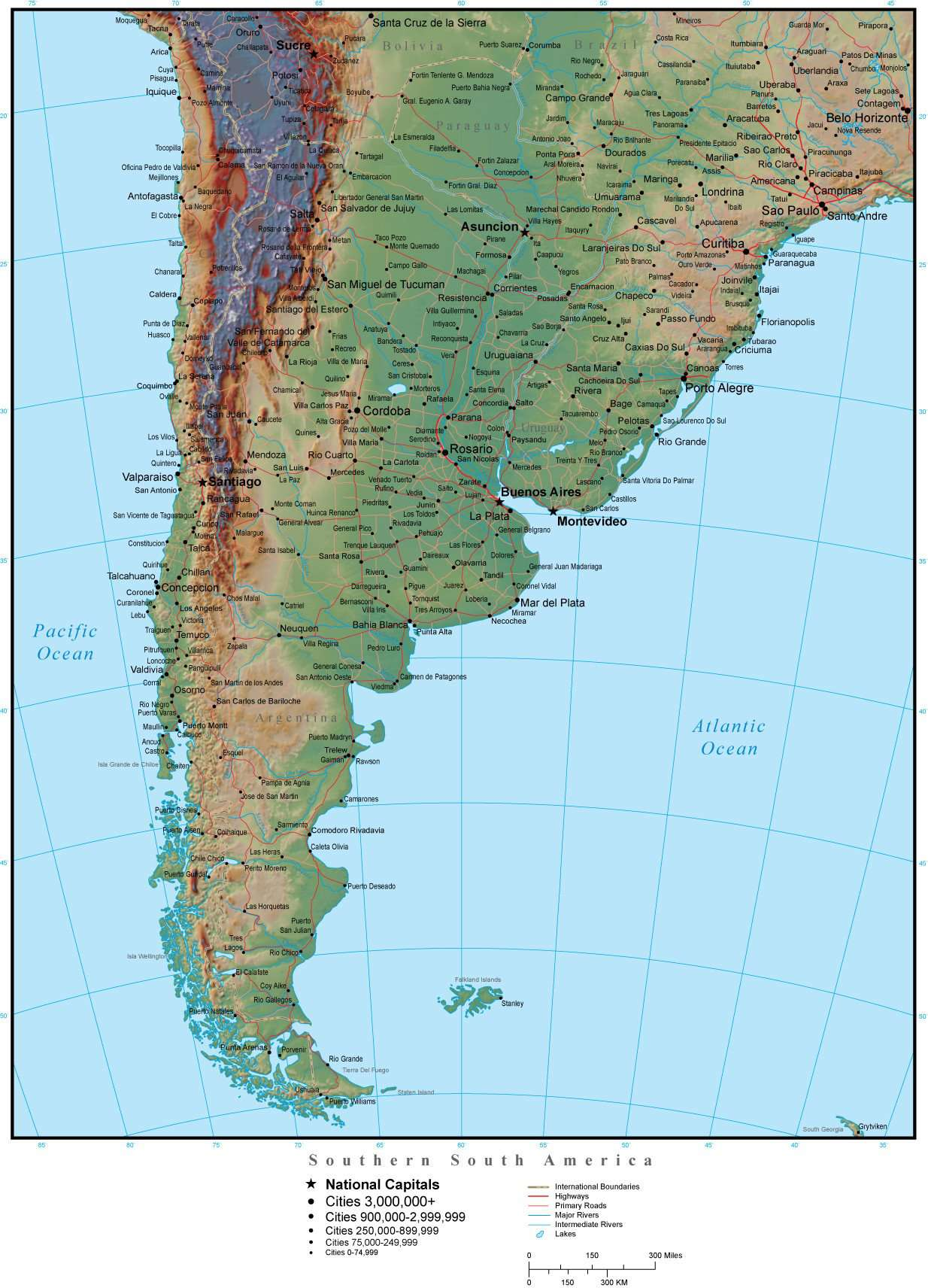 Southern South America Map Plus Terrain with Countries, Capitals, Cities,  Roads, and Water Features