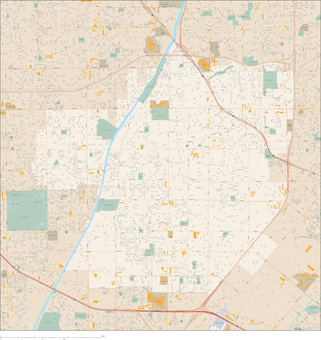 Santa Ana CA Map - 100 square miles - with Local Streets and Street Names