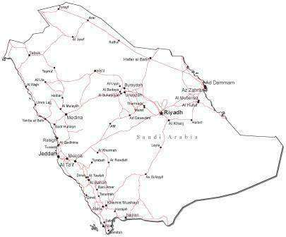 Saudi Arabia Black & White Map with Capital Major Cities and Roads