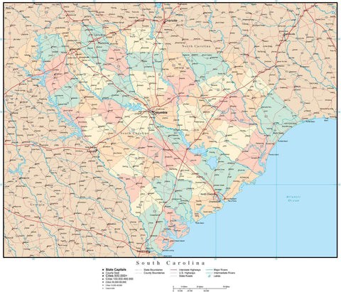 South Carolina Map with Counties, Cities, County Seats, Major Roads, Rivers and Lakes