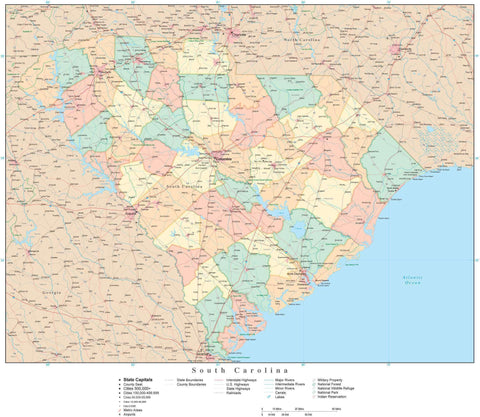 Detailed South Carolina Digital Map with Counties, Cities, Highways, Railroads, Airports, and more