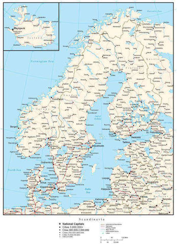 Scandinavia Map with Country Boundaries, Capitals, Cities, Roads and Water Features