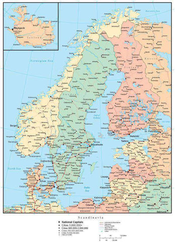 Scandinavia Map with Countries, Capitals, Cities, Roads and Water Features