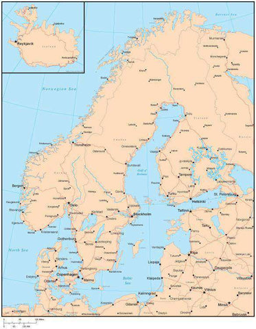 Single Color Scandinavia Map with Countries, Capitals, Major Cities and Water Features