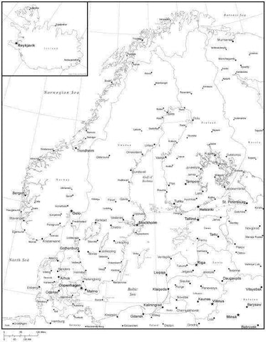 Black & White Scandinavia Map with Countries, Capitals and Major Cities - SCANDI-533892