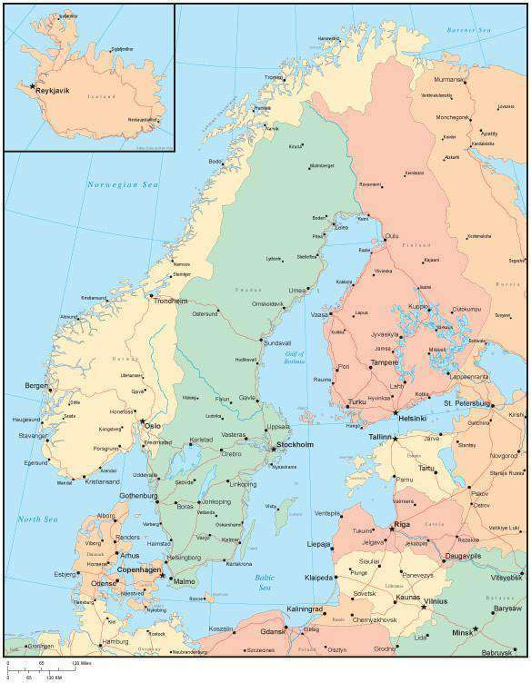 Multi Color Scandinavia Map with Countries, Capitals, Major Cities and  Water Features