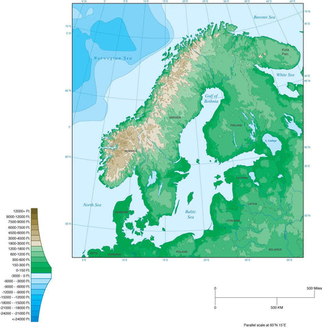 Digital Scandinavia Contour map in Adobe Illustrator vector format.