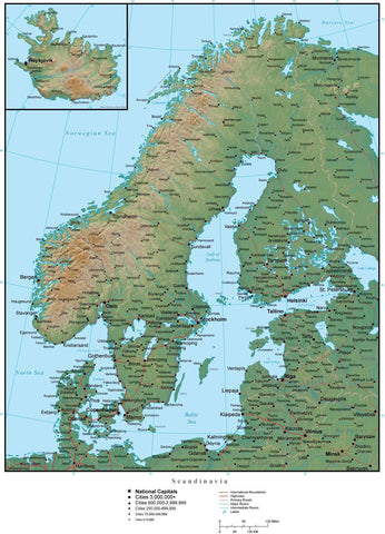 Scandinavia Terrain map in Adobe Illustrator vector format with Photoshop terrain image SCANDI-952926