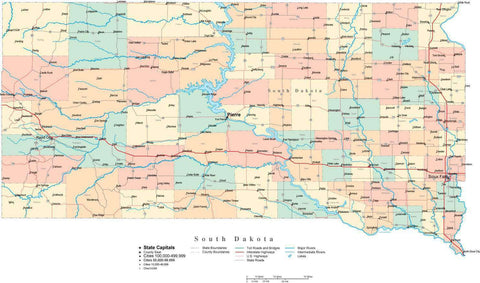 South Dakota State Map - Multi-Color Cut-Out Style - with Counties, Cities, County Seats, Major Roads, Rivers and Lakes