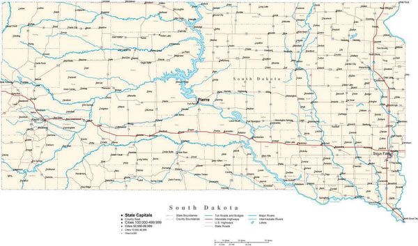 South Dakota State Map In Fit Together Style To Match Other States