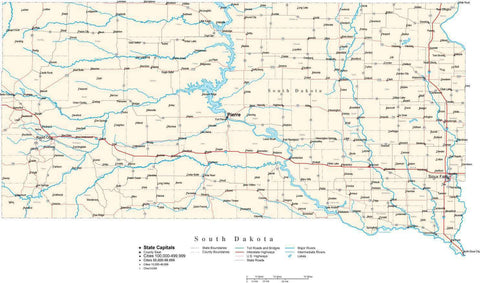South Dakota Map - Cut Out Style - with Capital, County Boundaries, Cities, Roads, and Water Features