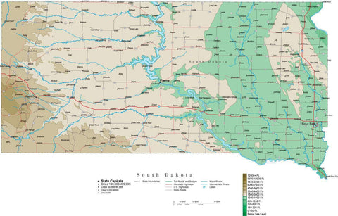 South Dakota Map  with Contour Background - Cut Out Style