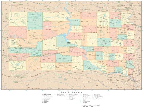 Detailed South Dakota Digital Map with Counties, Cities, Highways, Railroads, Airports, and more