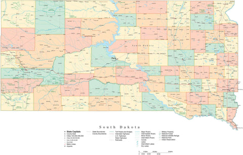 Poster Size High Detail South Dakota Cut-Out Style Map with Counties, Cities, Highways, National Parks and more