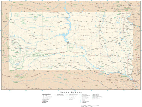Poster Size South Dakota Map with County Boundaries, Cities, Highways, National Parks, and more