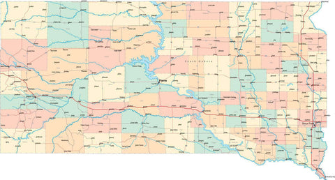 South Dakota State Map - Multi-Color Style - Fit Together Series