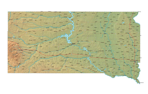 Digital South Dakota map in Fit Together style with Terrain SD-USA-852130