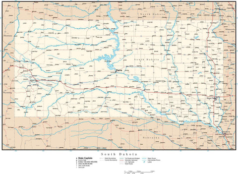 South Dakota Map with Capital, County Boundaries, Cities, Roads, and Water Features