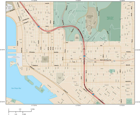San Diego  CA Map - City Center with Local Streets SDG-XX-984769