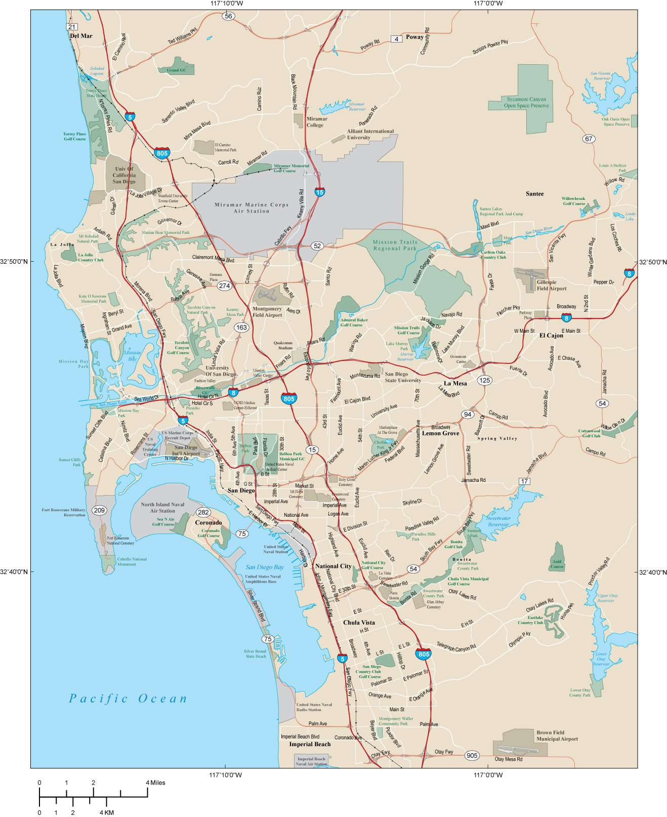 San Diego CA Map Metro Area - 600 square miles - with Arterial and Major  Road Network