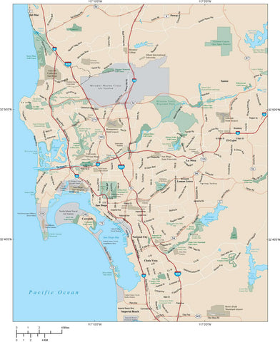 San Diego Map Adobe Illustrator vector format SDG-XX-984770