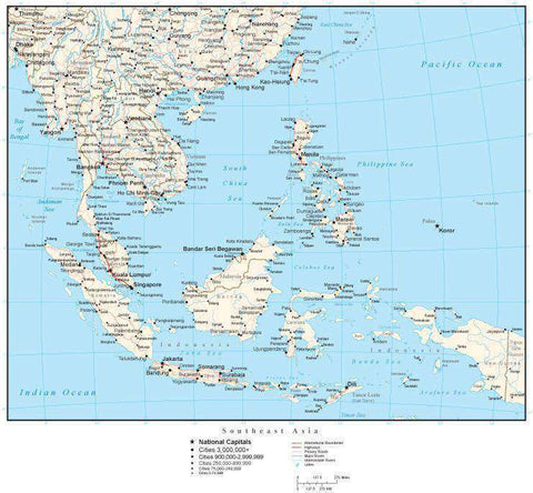 Southeast Asia Map with Country Boundaries, Capitals, Cities, Roads and Water Features