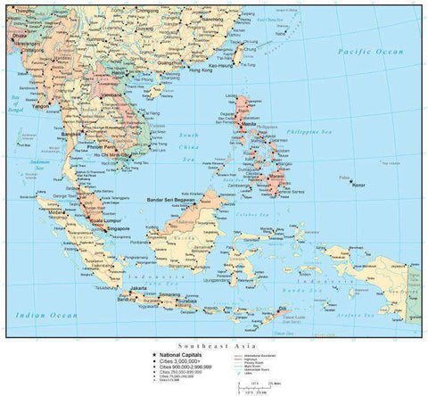Southeast Asia Map with Countries, Capitals, Cities, Roads and Water Features