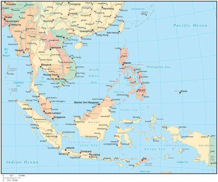 Multi Color Southeast Asia Map With Countries Major Cities Map - Koror city map
