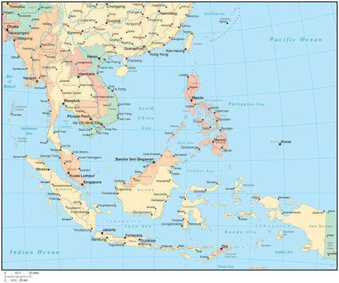 Multi Color Southeast Asia Map with Countries, Capitals, Major Cities and Water Features
