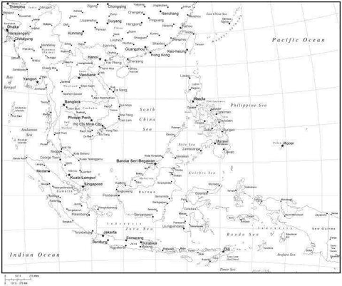 Black & White Southeast Asia Map with Countries, Capitals and Major Cities - SE-ASI-533884