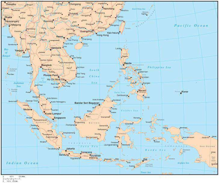 Country Map Of Southeast Asia.Single Color Southeast Asia Map With Countries Capitals Major Cities