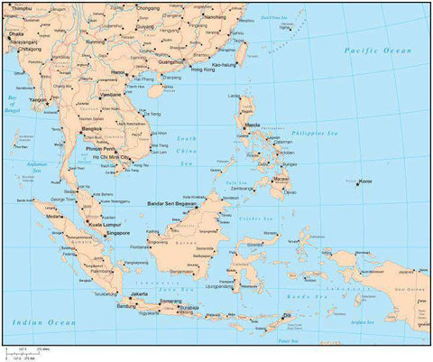 Single Color Southeast Asia Map with Countries, Capitals, Major Cities and Water Features