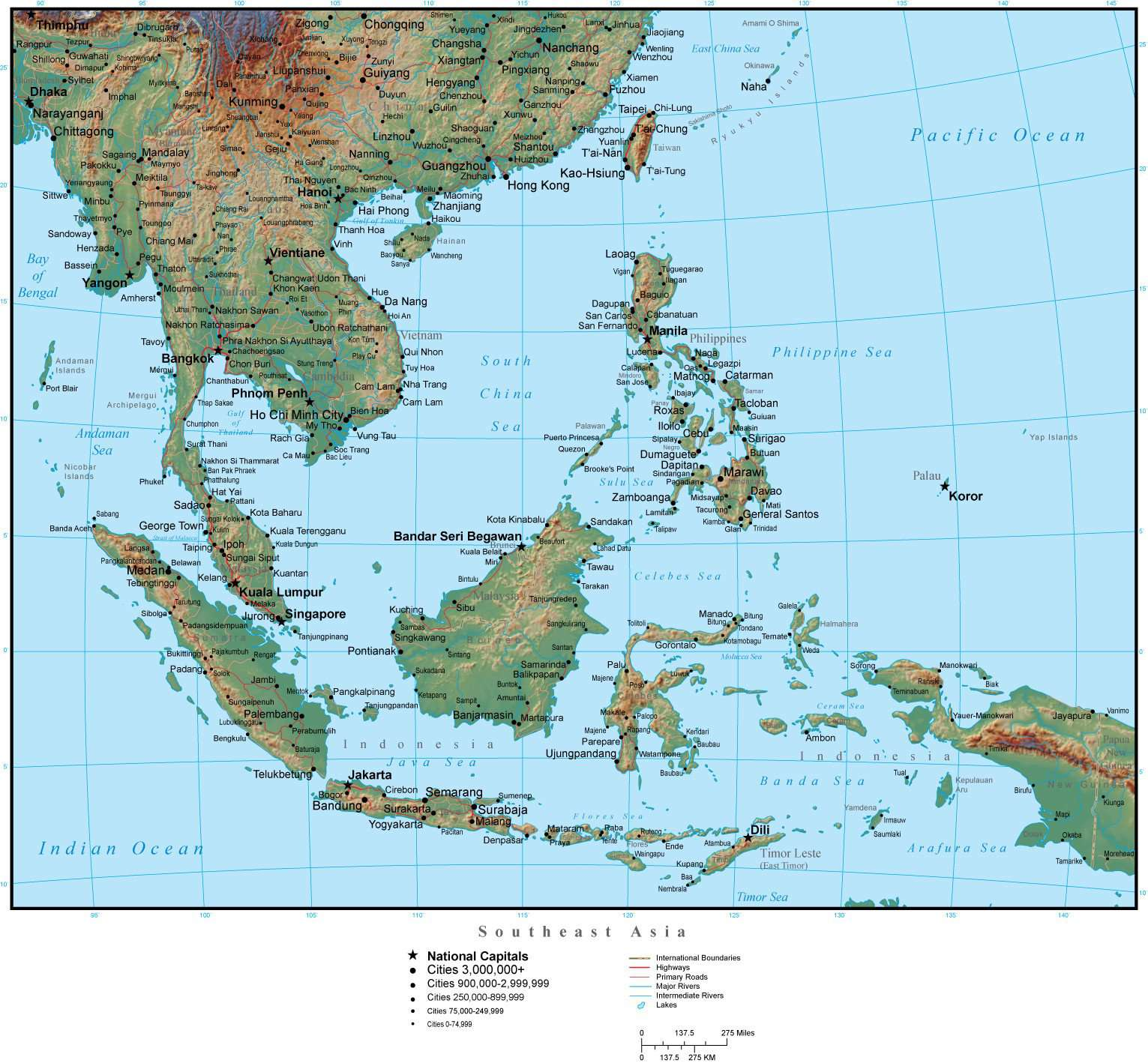 Southeast Asia Map Plus Terrain with Countries, Capitals, Cities, Roads,  and Water Features