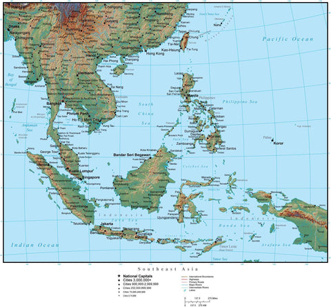 Southeast Asia Terrain map in Adobe Illustrator vector format with Photoshop terrain image SE-ASI-952846