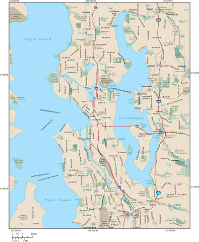 Seattle Map Adobe Illustrator vector format  SEA-XX-984790