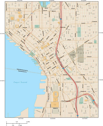 Seattle Map Adobe Illustrator vector format SEA-XX-984792