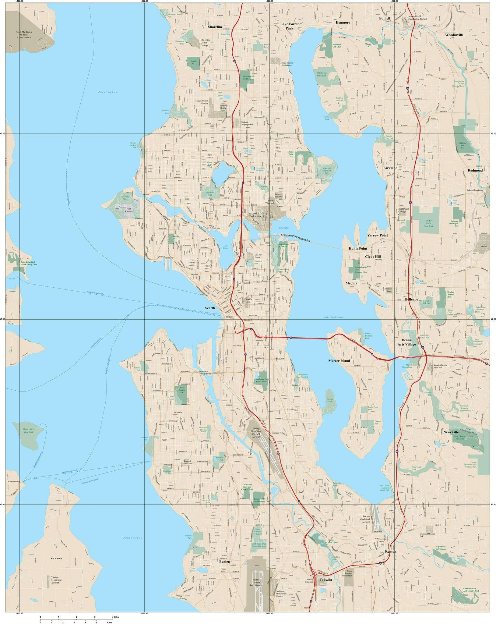 Seattle WA Digital Map with Local Streets Adobe Illustrator