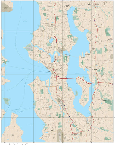 Seattle, WA City Map with Local Streets - Adobe Illustrator
