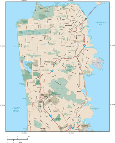 San Francisco Map Adobe Illustrator vector format SFR-XX-984764