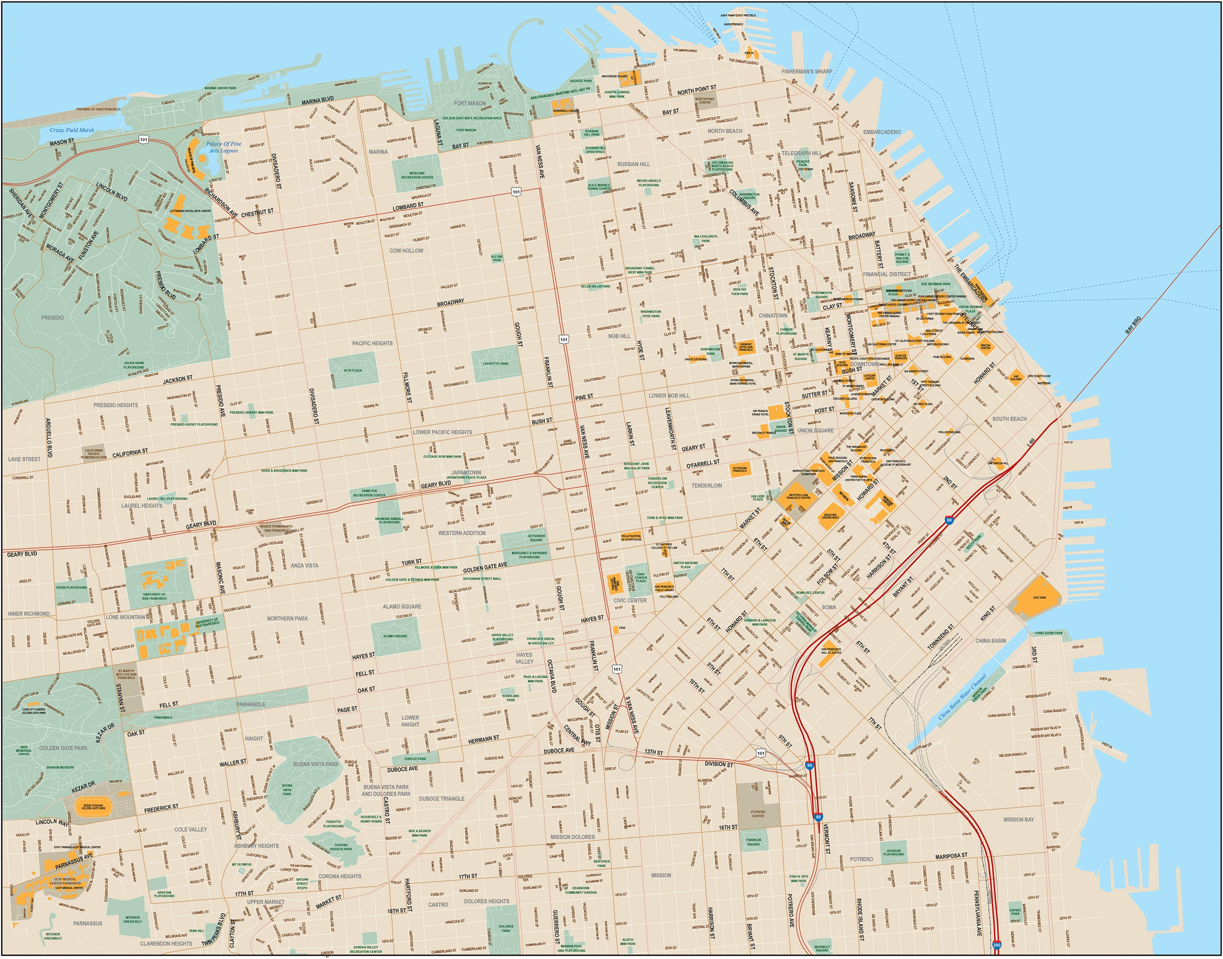 San Francisco Downtown Map with Local Streets - Illustrator Format ...