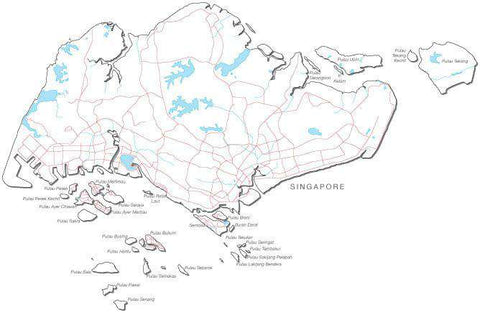 Singapore Black & White Map with Capital, Major Cities, Roads, and Water Features