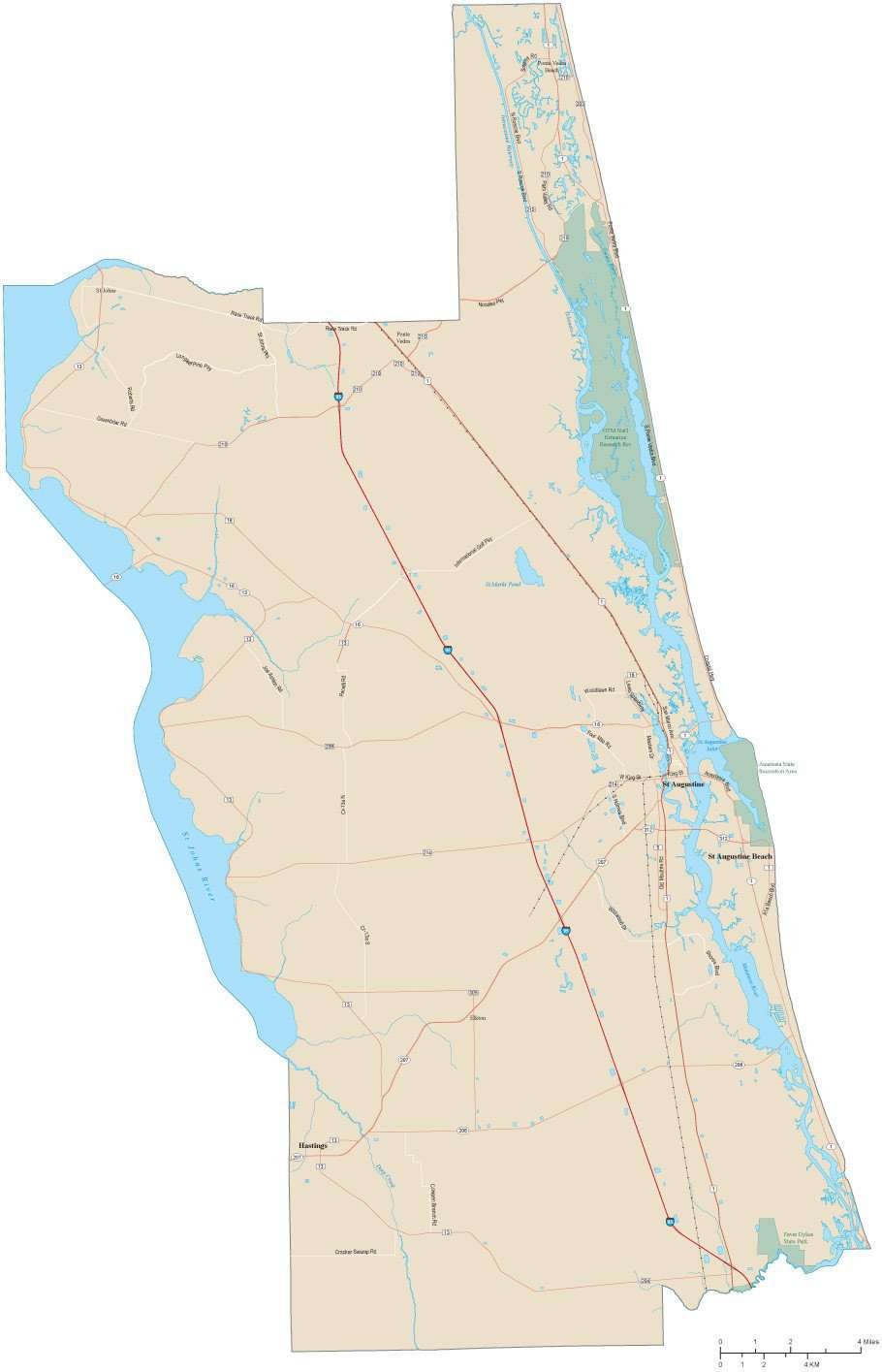 St Johns Florida Map.St Johns County Map With Local Streets In Adobe Illustrator Vector
