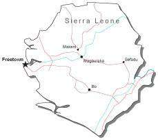 Sierra Leone Black & White Map with Capital, Major Cities, Roads, and Water Features